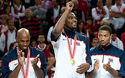 MV player Kevin Durant  of USA (C) celebrates after winning the finals basketball match between National teams of Turkey and USA at 2010 FIBA World Championships on September 12, 2010 at the Sinan Erdem Dome in Istanbul, Turkey.  USA defeated Turkey 81 - 64 and became World Champion 2010. (Photo By Vid Ponikvar / Sportida.com)