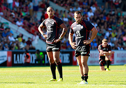 A dejected Gael Fickou reacts at the end of the game.  Stade Toulousain v ASM Clermont Auvergne, Stade Ernest Wallon, Samedi 13 September 2014. Top 14 5eme Journee.