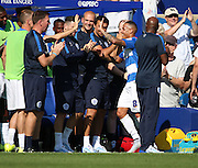 Tjaronn Chery (QPR midfielder) ceberating scoring with the QPR bench during the Sky Bet Championship match between Queens Park Rangers and Rotherham United at the Loftus Road Stadium, London, England on 22 August 2015. Photo by Matthew Redman.