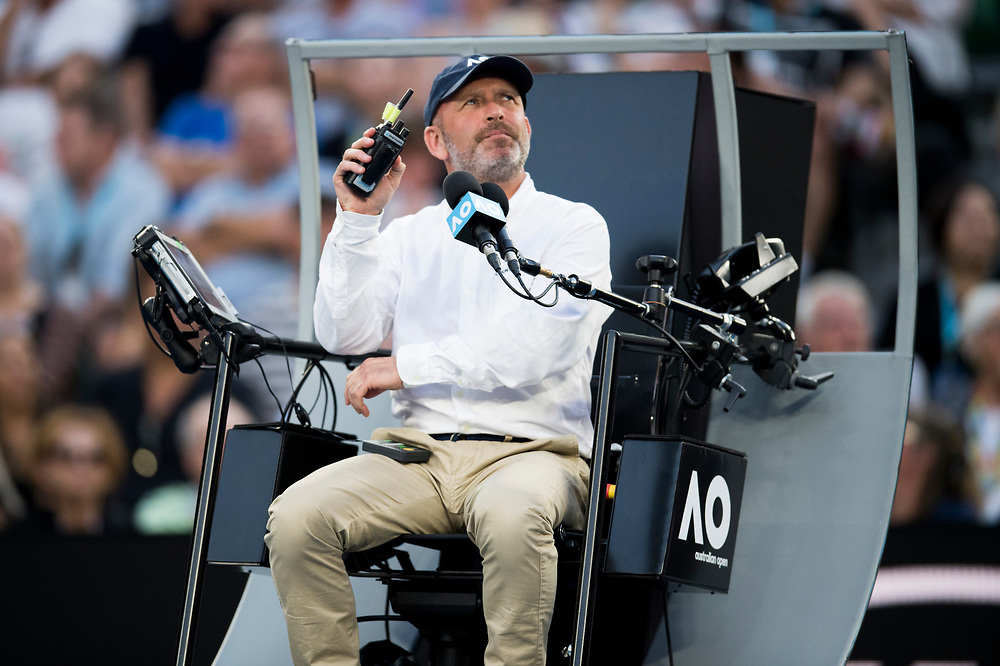 A chair umpire on day ten of the 2018 Australian Open in Melbourne Australia on Wednesday January 24, 2018.<br /> (Ben Solomon/Tennis Australia)