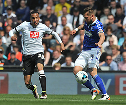 DERBYS MARCUS OLSSON ATTACKS IPSWICH LUKE CHAMBERS, Derby County v Ipswich Town Championship, IPro Stadium, Saturday 7th May 2016. Photo:Mike Capps