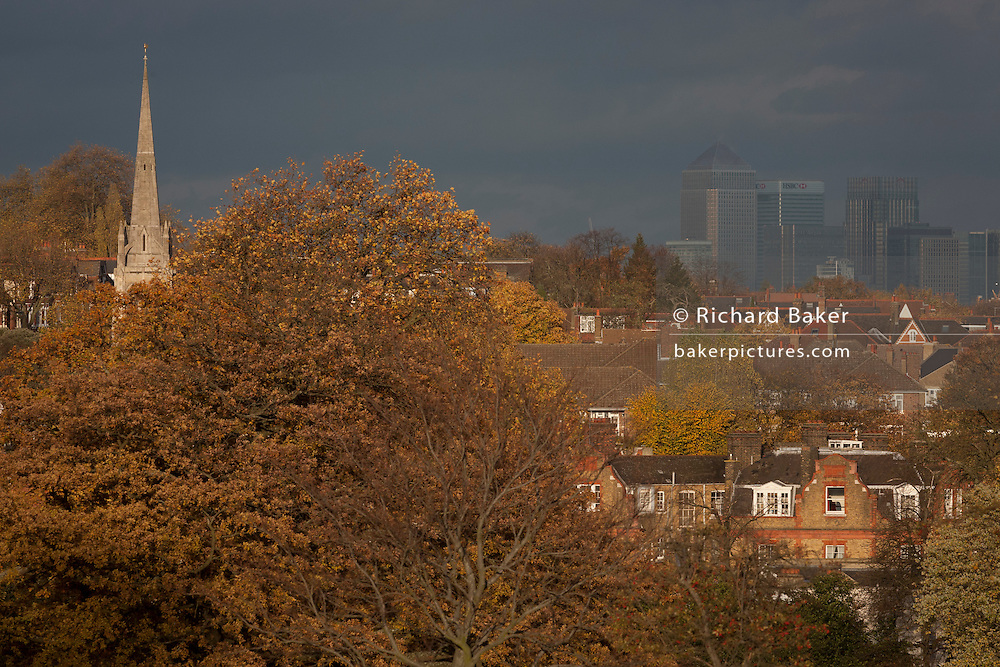 Landscape of Herne Hill Lambeth SE24, in south London and Canary Wharf in distant Docklands in the background.