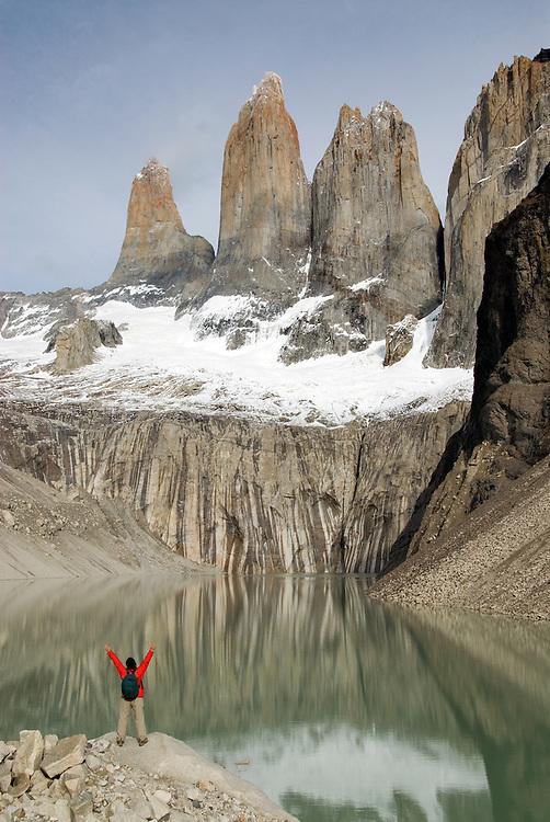 Hiker at Torres Del Paine, Torres Del Paine National Park, Chile.
