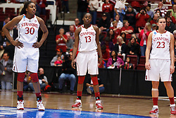 March 19, 2011; Stanford, CA, USA; Stanford Cardinal forward Nnemkadi Ogwumike (30), forward Chiney Ogwumike (13) and guard Jeanette Pohlen (23) enter the court before the first half of the first round of the 2011 NCAA women's basketball tournament against the UC Davis Aggies at Maples Pavilion.