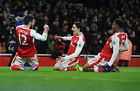Football - 2016 / 2017 Premier League - Arsenal vs. Crystal Palace<br /> <br /> Olivier Giroud of Arsenal celebrates scorings his magnificent back kick goal over his head at The Emirates.<br /> <br /> COLORSPORT/ANDREW COWIE