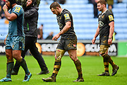 A battered  Wasps flyhalf Jimmy Gopperth (12) during the Aviva Premiership match between Wasps and London Irish at the Ricoh Arena, Coventry, England on 4 March 2018. Picture by Dennis Goodwin.