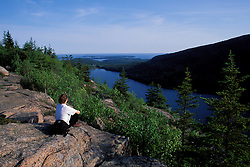 Acadia N.P., ME. Hiking on the South Bubble.  Jordan Pond.