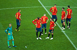 MOSCOW, RUSSIA - Sunday, July 1, 2018: Spain players looks dejected as they face a penalty shoot-out with Russia after a 1-1 draw during the FIFA World Cup Russia 2018 Round of 16 match between Spain and Russia at the Luzhniki Stadium. goalkeeper David De Gea, Gerard Pique, Dani Carvajal, Francisco Román Alarcón Suárez 'Isco'. (Pic by David Rawcliffe/Propaganda)