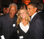 **EXCLUSIVE**.Morgan Freeman, Lori McCreary & Presidential Candidate Barack Obama.Presidential Candidate Barack Obama Fundraiser, hosted by DreamWorks Movie moguls Steven Spielberg, David Geffen and Jeffrey Katzenberg.Beverly Hilton Hotel.Hollywood, California, USA.Tuesday, February 20, 2007.Photo by Celebrityvibe.com; .To license this image please call (212) 410 5354 ; or.Email: celebrityvibe@gmail.com ;