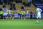 Torquay United players celebrate going 2-0 ahead during the Vanarama National League match between Torquay United and Forest Green Rovers at Plainmoor, Torquay, England on 26 December 2016. Photo by Shane Healey.