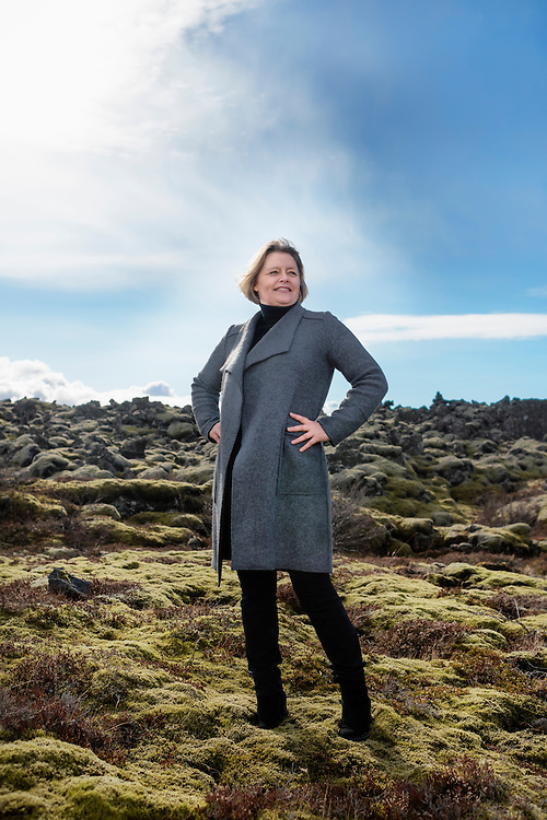 REYKJAVIK 20160404<br /> Gu&part;run Nordal poses for a portrait on a Lava moss outside of Reykjavik. She is running for the President. Photo: Vilhelm Stokstad / Kontinent