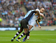 Twickenham, GREAT BRITAIN, Charlie SHARPLES, feels the force of Samu WARA's, tackle during the QBE International Series, England vs Fiji, Autumn International at Twickenham Stadium, Surrey on   Saturday  10/11/2012.  Mandatory Credit  [Peter Spurrier/Intersport-images]