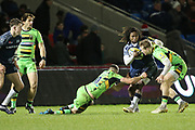 Marland Yarde stopped during the Aviva Premiership match between Sale Sharks and Northampton Saints at the AJ Bell Stadium, Eccles, United Kingdom on 25 November 2017. Photo by George Franks.
