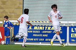 BANGOR, WALES - Thursday, August 30, 2012: Poland's Adam Ryczkowski celebrates scoring the second goal against Wales during the International Friendly Under-16's match at the Nantporth Stadium. (Pic by David Rawcliffe/Propaganda)