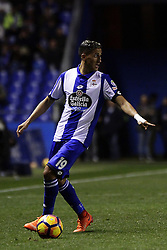 March 2, 2017 - A CoruñA, Galicia - A CO Fayçal Fajr (19) of Deportivo de La Coruña controls the ball during the La Liga Santander match between Deportivo de La Coruña and Atletico de Madrid at Riazor Stadium on March 2, 2017 in A Coruña, Spain. (Credit Image: © Jose Manuel Alvarez Rey/NurPhoto via ZUMA Press)