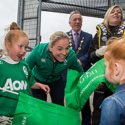 27.07.17.          <br /> Ireland Women&rsquo;s Rugby captain Niamh Briggs was mobbed by young fans in Limerick earlier today (Thursday) as she arrived in the city by boat for the Women&rsquo;s Rugby World Cup trophy tour.<br /> <br /> Niamh Briggs, Ireland Women&rsquo;s Rugby captain was greeted on arrival by Isabel Tierney, 7 daughter of the Senior Ireland Women's Rugby Team coach Tom Tierney, also pictured with holding the trophy was Karen Keehan, Limerick Marine Search and Rescue.<br /> <br /> <br />  The Limerick based garda and Munster fullback was escorted on the River Shannon by Limerick Marine Search and Rescue along with Nevsail kayakers as she made her way to Arthur&rsquo;s Quay jetty to be officially met by Mayor of Limerick, Cllr Stephen Keary. Picture: Alan Place