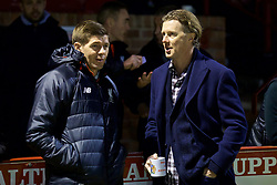 ALTRINGHAM, ENGLAND - Friday, March 10, 2017: Liverpool's coach Steven Gerrard chats with Steve McManaman before an Under-18 FA Premier League Merit Group A match against Manchester United at Moss Lane. (Pic by David Rawcliffe/Propaganda)