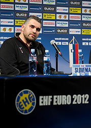 Boris Denic, head coach of Slovenia during press conference after the handball match between Norway and Slovenia in Preliminary Round of 10th EHF European Handball Championship Serbia 2012, on January 16, 2012 in Millennium Center, Vrsac, Serbia. Norway defeated Slovenia 29-28. (Photo By Vid Ponikvar / Sportida.com)