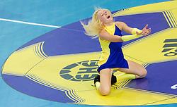 Cheerleaders Soncice during handball match between RK Cimos Koper and HCM Constanta in 10th Round of season 2011/2012 of EHF Men's Champions League, on February 25, 2012 in Arena Bonifika, Koper, Slovenia. Cimos Koper defeated Constanta 28-24. (Photo By Vid Ponikvar / Sportida.com)