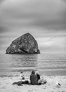 View of Chief Kiawanda Rock and Cape Kiwanda from the beaches of Pacific City, Oregon