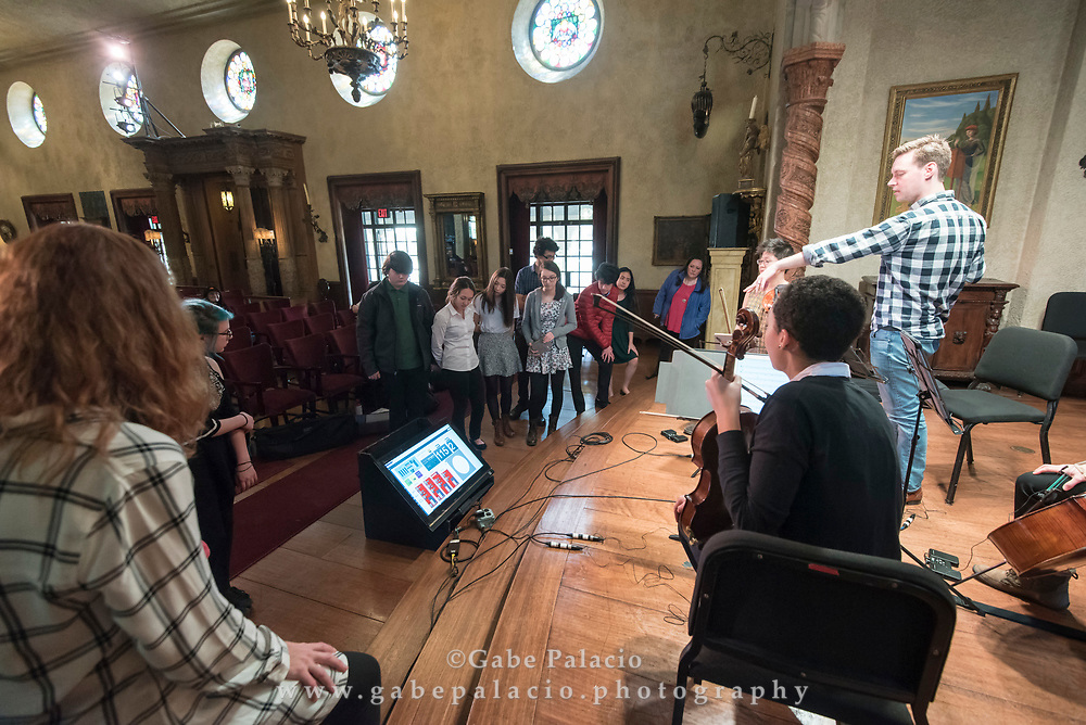The Argus Quartet of Jason Issokson, Clara Kim, violins; Dana Kelley viola; Joann Whang, cello, work with the students from Fox Lane High School in Bedford, in the Music Room of the Rosen house at Caramoor in Katonah New York on March 30, 2017. <br /> (photo by Gabe Palacio)