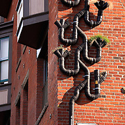 Rainwater downspout planter, Pike Place Market Health Clinic building, Seattle, Washington