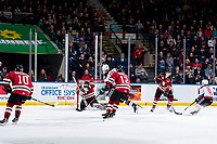 KELOWNA, BC - FEBRUARY 15: Byron Fancy #35 of the Red Deer Rebels makes a save against the Kelowna Rockets at Prospera Place on February 15, 2020 in Kelowna, Canada. (Photo by Marissa Baecker/Shoot the Breeze)