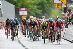 July 23, 2017 - Seraing, BELGIUM - Danish Michael Morkov of Katusha-Alpecin, Belgian Jasper De Buyst of Lotto Soudal and French Justin Jules of WB Veranclassic Aqua Protect pictured during the sprint of the second stage of the 38th edition of the Tour de Wallonie (Ronde van Wallonie), 191,5km from Chaudfontaine to Seraing, Sunday 23 July 2017. This year's edition of the Tour de Wallonie takes plave from 22 to 26 July. BELGA PHOTO LUC CLAESSEN (Credit Image: © Luc Claessen/Belga via ZUMA Press)