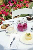 Desserts on outdoor table