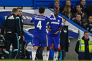 Cesc Fabregas of Chelsea (04) is replaced by Ramires of Chelsea (7) during the Capital One Cup Semi Final 2nd Leg match between Chelsea and Liverpool at Stamford Bridge, London, England on 27 January 2015. Photo by David Horn.