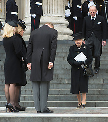 HM The Queen with HRH The Duke of Edinburgh are greeted by the Thatcher family on the steps of St Paul's, St Paul's Cathedral, London, UK, on Wednesday 17 April, 2013, Thursday 18 April, 2013 Photo by: i-Images