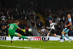 Andre Schurrle of Fulham has a shot saved by Joe Hart of Burnley - Mandatory by-line: Robbie Stephenson/JMP - 26/08/2018 - FOOTBALL - Craven Cottage - Fulham, England - Fulham v Burnley - Premier League