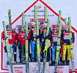 06.02.2011, Heini Klopfer Skiflugschanze, Oberstdorf, GER, FIS World Cup, Ski Jumping, Teamwettbewerb, Finale, im Bild Siegerehrung,  Norway 2. Platz Sieger TEAM Austria und der 3. Platz Germanyduring ski jump at the ski jumping world cup Trail round in Oberstdorf, Germany on 06/02/2011, EXPA Pictures © 2011, PhotoCredit: EXPA/ P. Rinderer