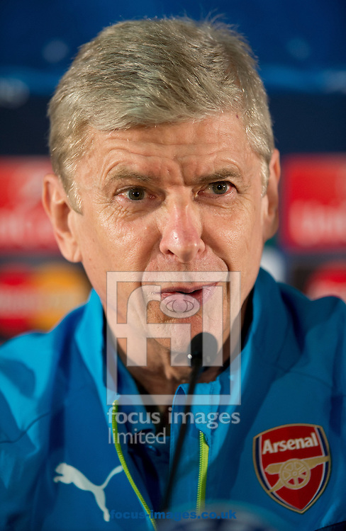Arsenal manager Arsene Wenger during a press conference at Stade Louis II, Monaco ahead of their UEFA Champions League last 16 second leg match against AS Monoco<br /> Picture by Russell Hart/Focus Images Ltd 07791 688 420<br /> 16/03/2015