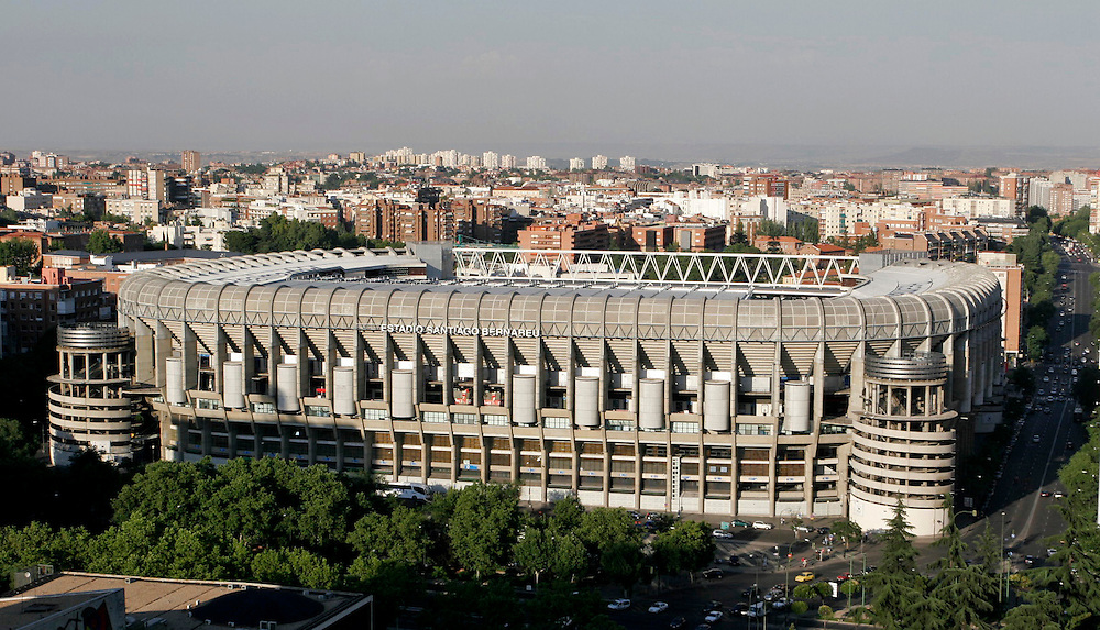 Santiago Bernabeu Stadium, home to  Real Madrid football team, is located in Paseo de la Castellana street in Madrid.<br /> <br /> Estadio Santiago Bernabeu sede del Real Madrid Club de F&uacute;tbol se encuentra en el Paseo de la Castellana en Madrid.