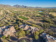 Aerial drone real estate photography over Grayhawk Golf Course in Scottsdale, AZ