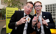 JAMES BOARDMAN / 07967642437<br /> Magician Martin Sanderson and Sam French (Sams Kitchen) <br /> <br /> Mayo Wynne Baxter host a drinks party at there new satellite office in The Beehive in Gatwick . April 23, 2015.