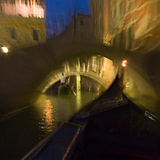 Gondola ride at night, Venice, Italy<br />