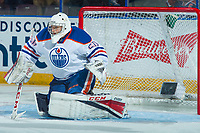 PENTICTON, CANADA - SEPTEMBER 9: Stuart Skinner #50 of Edmonton Oilers defends the net against the Winnipeg Jets on September 9, 2017 at the South Okanagan Event Centre in Penticton, British Columbia, Canada.  (Photo by Marissa Baecker/Shoot the Breeze)  *** Local Caption ***