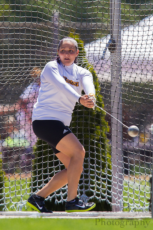 Rowan University's Jess Lomonaco competes in the women's hammer throw at the NJAC Track and Field Championships at Richard Wacker Stadium on the campus of  Rowan Univeristy  in Glassboro, NJ on Saturday May 4, 2013. (photo / Mat Boyle)