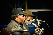 The Sax section for The Dirty Dozen Brass Band performing at the 2011 Labor Day weekend at Wiggins Park in Camden, NJ.