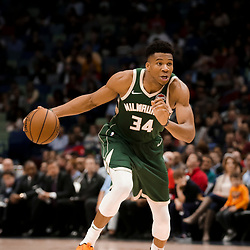 Mar 12, 2019; New Orleans, LA, USA; Milwaukee Bucks forward Giannis Antetokounmpo (34) drives in against New Orleans Pelicans during the second half at the Smoothie King Center. Mandatory Credit: Derick E. Hingle-USA TODAY Sports