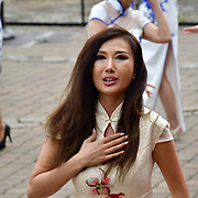 "Chinese Soprano 朱珍,Jane Maria sings 我和我的祖国,Me and my country to celebration of the 70th China National Day 2019 and a Chinese ""Qipao"" flash mob, London, 28 September 2019, UK."
