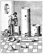 Athanor or 'Slow Harry', a self-feeding furnace maintaining a constant temperature. This plate displays the Athanor and side chambers (5,5) for reagents in separate parts. One of the uses of the furnace was the production of nitric acid (also known as Aqua Fortis or Parting Acid)  which was used in the refining and assaying of metals.  From 1683 English edition of 'Beschreibung allerfurnemisten mineralischen Ertzt',  Lazarus Ercker, (Prague, 1574). Copperplate engraving.