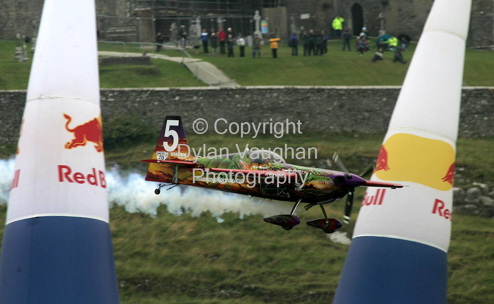 24/7/2005.Mike Mangold pictured in action at the Red Bull Air Race 2005 at the Rock of Cashel yesterday..Picture Dylan Vaughan