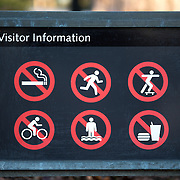 A sign showing the restrictions for visitors to the FDR Memorial at the Tidal Basin in Washington DC.