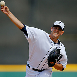 Feb 27, 2013; Lakeland, FL, USA; Detroit Tigers starting pitcher Rick Porcello (21) throws during the top of the first inning of a spring training game against the Atlanta Braves at Joker Marchant Stadium. Mandatory Credit: Derick E. Hingle-USA TODAY Sports