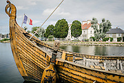 Fans of Normandy history and Viking culture rebuilt a Viking warship in Cherbourg. It was built in the liking of those that went to the Seine to invade Normandy in the ninth century. This copy, which regularly sails along the Normandy coast, was labeled to be of Patrimonial Interest Boat by the Maritime Heritage Foundation.