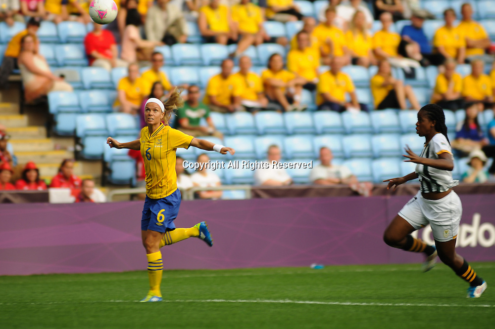25.07.2012 Coventry, England. Sara THUNEBRO (Sweden)  in action during the Olympic Football Women's Preliminary game between Sweden and South Africa from the City of Coventry Stadium