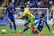 Birmingham City midfielder David Davis (26) makes a tackle on Norwich City midfielder Jacob Murphy (22) 2-0 during the EFL Sky Bet Championship match between Birmingham City and Norwich City at St Andrews, Birmingham, England on 27 August 2016. Photo by Alan Franklin.